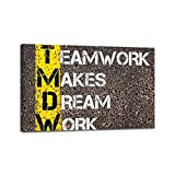 Wall Artwork Decor Wall Art Painting teamwork makes dream work motivational quote dreamland stock Framed Canvas Prints Poster for Home Decor Modern Living Room Pictures Ready to Hang 24x36in