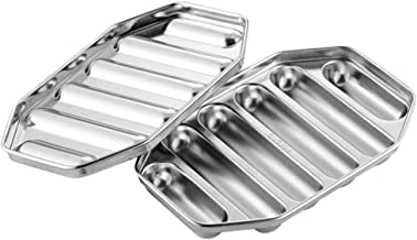 TOPBATHY Stainless Steel Sausage Mold Baby Food Mold Hot Dog Mould DIY Sausage Making Kitchen Tools (Silver)
