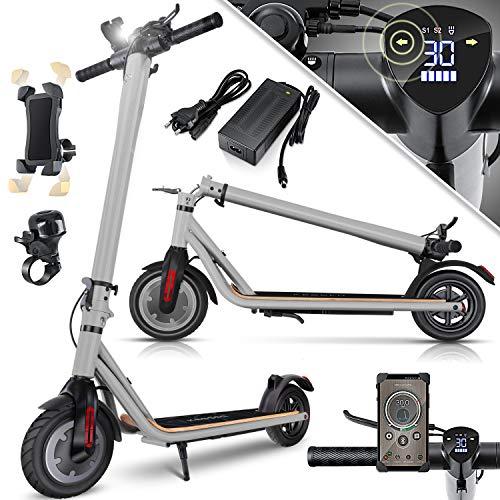 KESSER® Elektro Scooter 700 W E-Scooter mit APP & Bluetooth E-Roller Elektroroller Faltbar 9,5 Zoll Reifengröße bis zu 30 km/h Aluminium Klappbar max. Belastung 120kg, LED Anzeige Akku Grau
