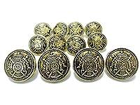ジャケット用 ゴ-ルド色xブラック色 家紋調 メタル(ABS) ボタン21mm 4個 15mm 8個 合計12個入り