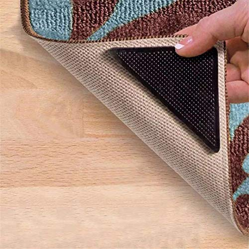 Rug Gripper -Anti Curling Non Slip Area Reusable Carpet Sticker Keeps Your Rug in Place and Makes Corners Flat Removable Washable Pad for Tile Floors, Carpets, Floor Mats, Wall, Black 4pcs
