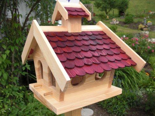 Vogelhaus-XL Rot-Vogelhäuser-(V14)-Vogelfutterhaus Vogelhäuschen-aus Holz- Schreinerarbeit-