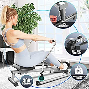 ANCHEER Hydraulic Rowing Machine, Full Motion Adjustable Rower with 12 Level Resistances & Soft Seat & LCD Monitor & 45 Inch Long Rail for Indoor Cardio Exercise, Home/Apartment/Office (Silver)