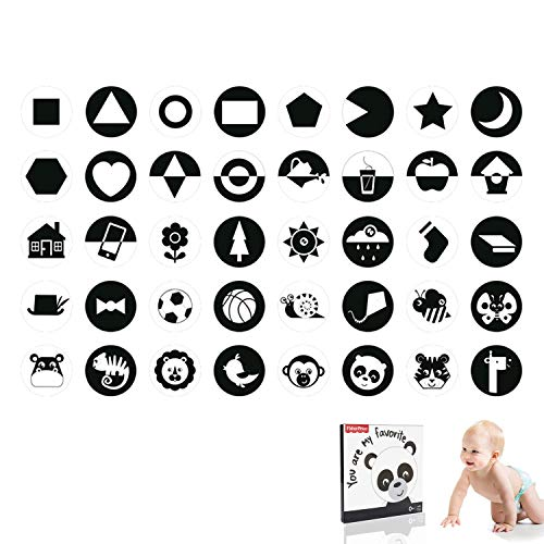 Tarjetas Negras y Blancas para Bebés,Temprano para Bebés Tarjetas Cognitivas En Blanco y Negro, Tarjetas De Contraste Visual para Bebés y Recién Nacidos, Adecuadas para Bebés De 0 a 3 Meses