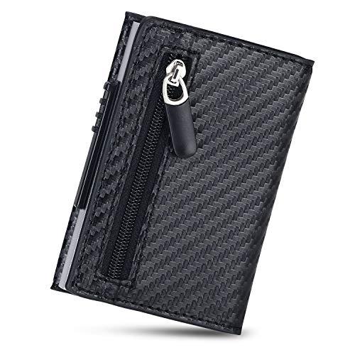 flintronic Tarjeteros para Tarjetas de Crédito Automática Billetera de Aluminio y Cuero con Bloqueo RFID Mini Billetera Metálico, con Caja de Regalo y Llavero