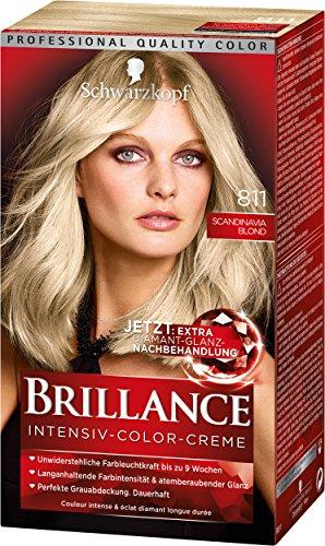 SCHWARZKOPF BRILLANCE Intensiv-Color-Creme 811 Scandinavia Blond Stufe 3, mit extra Diamant-Glanz-Nachbehandlung, 3er Pack (3 x 143 ml)