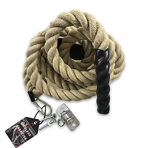 Gym Climbing Rope for Indoor or Outdoor WorkoutsCrossfit Fitness Exercise15 Inch in Diameter 15/20/25 ft Length AvailableHEAVY DUTY Manila Hemp Two Easy Install Modes Hanger Included(15)