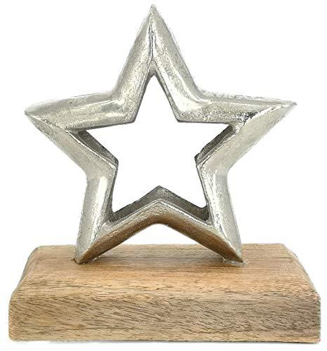 My-goodbuy24 Holz-Stern aus Mangoholz & Aluminium - ver. Größen - handgefertigt Holzdekoration massiv Deko-Stern Tischdekoration Weihnachten - Handmade (Höhe 13,5cm)