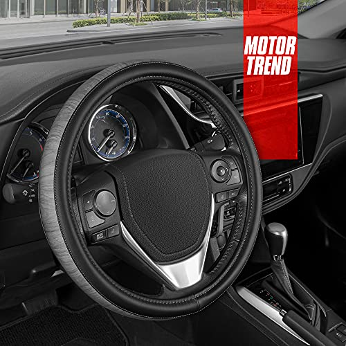 Motor Trend SoftTouch Wood Grain Steering Wheel Cover - Black Faux Leather Steering Wheel Cover with Gray Wood Trim, Universal Fit for Car Truck Van SUV Wheel Sizes 14.5 to 15.5 Inches