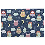 N-R Puzzle 1000 Pieces Jigsaw Puzzles DIY Wooden for Adults Kids Good Night Cute Owl Clouds Moon Branches On Blue Background