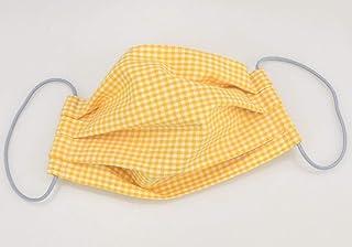 Mund- & Nasenmaske - Gelb-Weiß kariert - Baumwollmaske