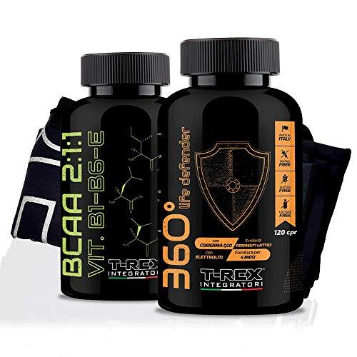 Combo de recuperación muscular: LIFE DEFENDER 360° 120 Comprimidos + BCAA 2:1:1 200 Comprimidos - Enzimas Multivitamínicas y Ácido Láctico junto con Aminoácidos ramificados básicos y esenciales