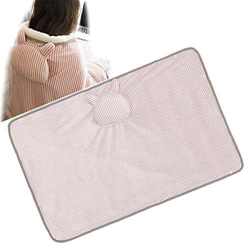 GHH Heizdecke 5V USB Fleece Decke mit Handwärmern Knieschützer Schal Geeignet für das Büro als Kissen für die Mittagspause 72 x 115 cm,Rosa