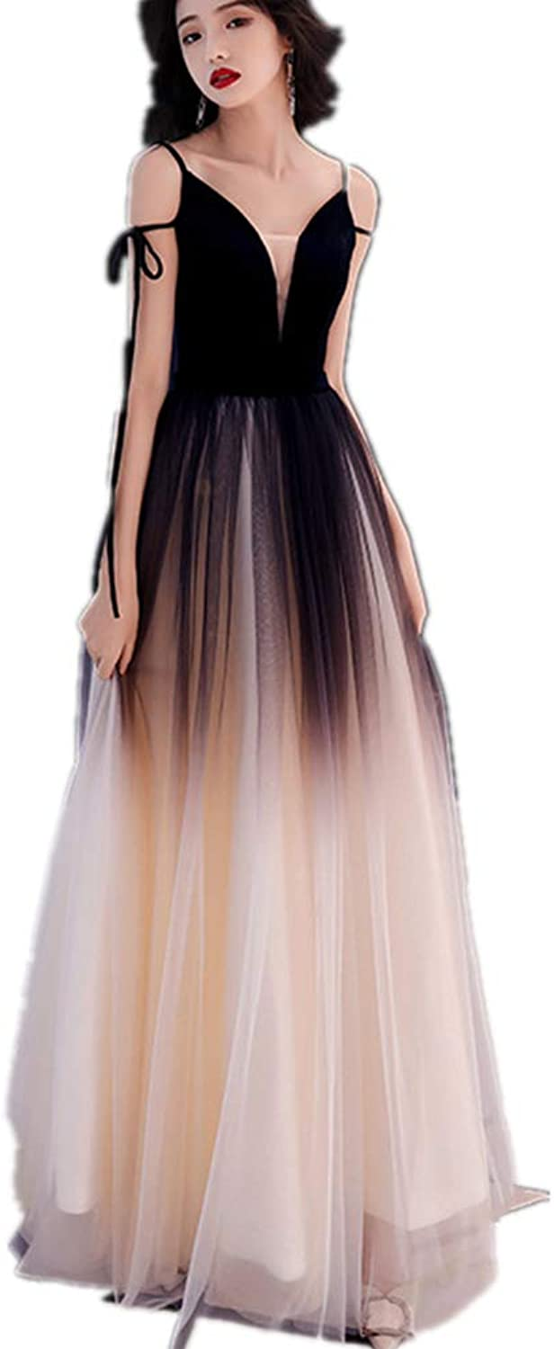 Women's Spaghetti Straps Prom Dresses Long Tulle Formal Evening Gown