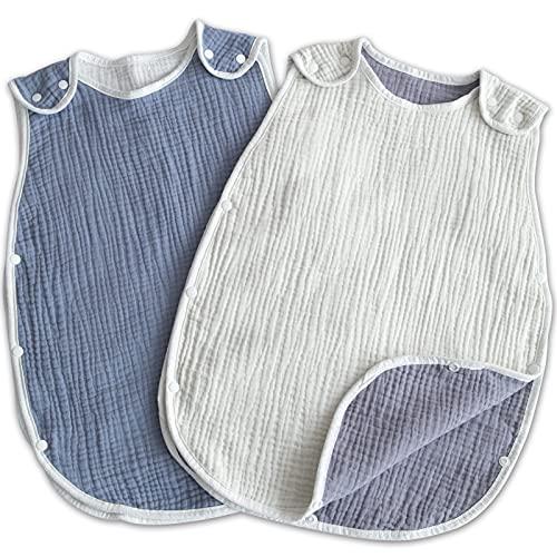 (ケラッタ) イブル 赤ちゃん スリーパー 6重ガーゼ 出産祝い ベビー用 新生児 寝たまま着せられる 0~4歳まで (ブルー×ホワイト 2枚セット)