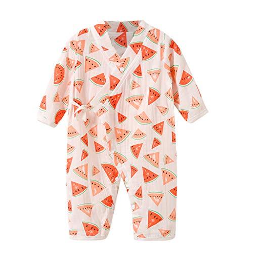 YWLINK Bebé ReciéN Nacido Mono De Dibujos Animados De Frutas De Manga Larga Pijama De Kimono De Gasa AlgodóN Mameluco Mono Original Ropa Vestido De Fiesta De Bautismo(Melon Rojo,3-6 meses/66)