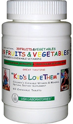 39 Fruits and Vegetables Children's Chewable Vitamin - Kids Love Them - 60 Chewable Tablets