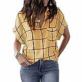 ZFQQ Camiseta de Manga Corta con Cuello en V y Bolsillo con Estampado de Cuadros Multicolor para Mujer Primavera/Verano