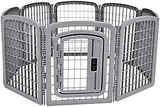 AmazonBasics 8-Panel Plastic Pet Pen Fence Enclosure With Gate - 59 x 58 x 28 Inches, Grey