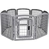 Amazon Basics 8-Panel Plastic Pet Pen Fence Enclosure With Gate - 59 x 58 x 28 Inches, Grey