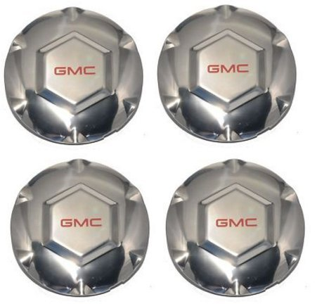 Replacement PART: 4pcs. 2002 03 04 05 06 07 GMC ENVOY 17' 6 SPOKE POLISHED WHEEL CENTER CAPS SET