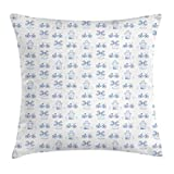Ambesonne Bicycle Throw Pillow Cushion Cover, Dutch Ornament Drawings in Blue Windmill Narrow House Bicycle Topiary Tree, Decorative Square Accent Pillow Case, 20' X 20', Night Blue