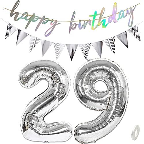 """Daimay Juego de decoraciones de fiesta de cumpleaños con número 29 de plata y globos de papel brillante con texto en inglés """"Happy Birthday"""""""