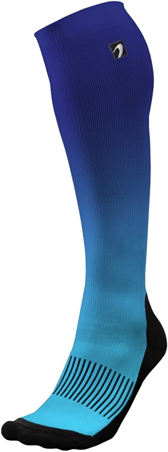 (Medium, Ombre blueee)  Designer Compression Socks Graduated for Performance and Recovery by Acel