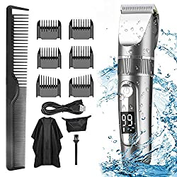 ❤ [Easy to use] Our hair clipper has an LCD display that can show the battery life and clearly see when it needs to be charged. Easy to use. The unique R-shaped fillet design protects the blade from skin irritation and does not pull hair. ❤ [IPX6 Wat...