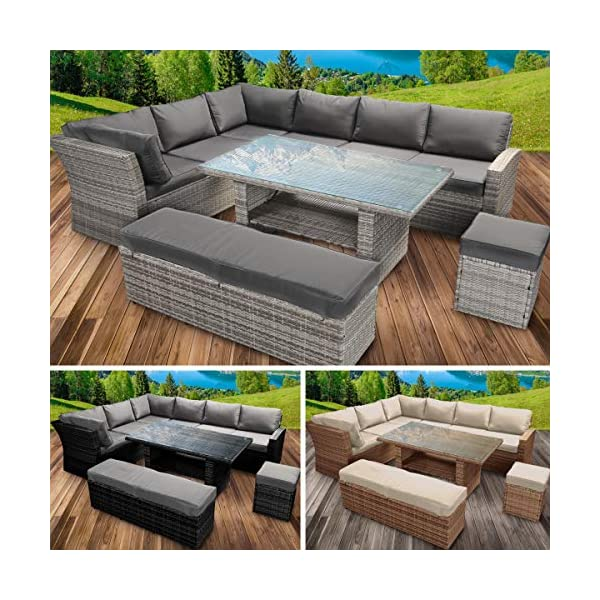 BRAST Poly-Rattan Gartenmöbel Essgruppe Lounge Set Sitzgruppe Outdoor Möbel Garten Garnitur Sofa Holidays Braun…