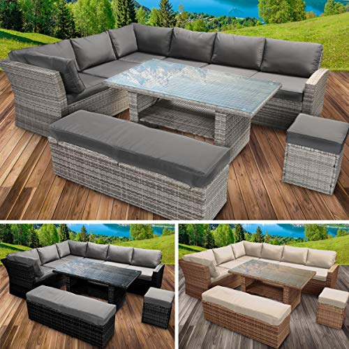 BRAST Poly-Rattan Gartenmöbel Essgruppe Lounge Set Sitzgruppe Outdoor Möbel Garten Garnitur Sofa Holidays Grau Anthrazit