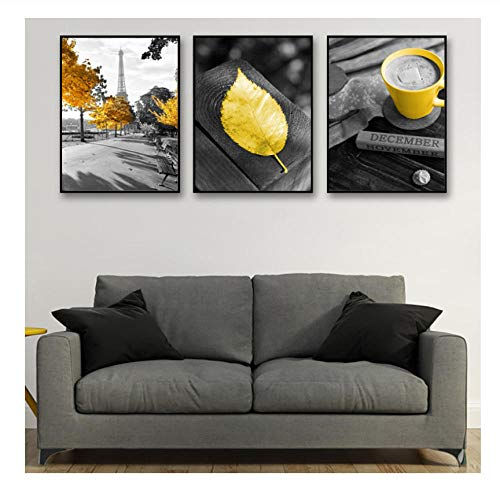 GUOXIN12 Yellow Leaf Poster Nordic Gray Canvas Painting Paris Tower Canvas Prints Yellow Poster Cappuccino Posters and Prints Unframed