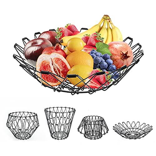 ceuao Cesto di Frutta, Cesto Portafrutta, Porta Frutta Moderni,Portafrutta in Metallo Può Essere Piegato Nella Forma Desiderata,Cestini Portaoggetti per Snack di Frutta, Pane, Caramelle, Frutta