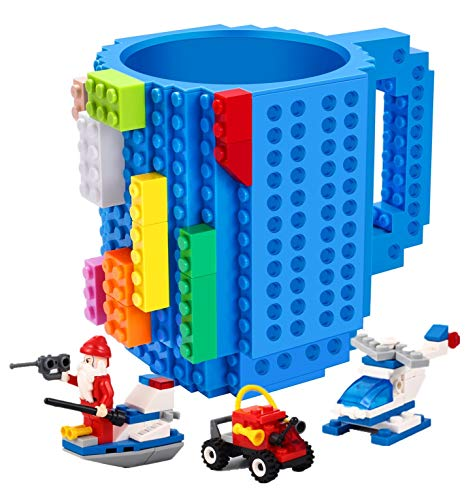 POXIWIN Build-on Brick Mug,with 3 Packs of Blocks at random,Creative DIY Building Blocks Cup for Water Juice,Novelty Coffee Mugs Compatible with Lego,Kids Party Cups for Christmas,Blue