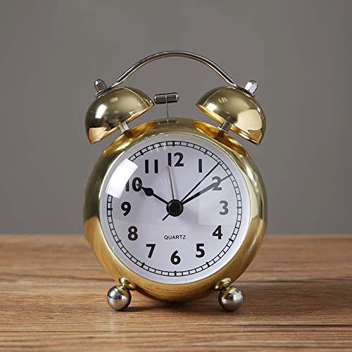 yzdhha Metal Pequeño Reloj Despertador Estudiante con El Interruptor del Interruptor De La Cabecera Sit-Silencio Reloj Sonido De Ruido Mecánico De Gran Tamaño 3 Pulgadas Dorado