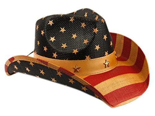 ANGELA & WILLIAM Men's & Women's Western Style Cowboy/Cowgirl Straw Hat (COW2935)
