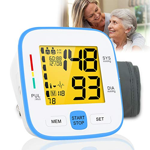 Blood Pressure Monitor,Digital BP Cuff Upper Arm Blood Pressure Monitor Backlit Display Large Cuff BP Machine Heart Monitor Automatic Blood Pressure Cuff for Home Use,2 * 90 Sets Memory