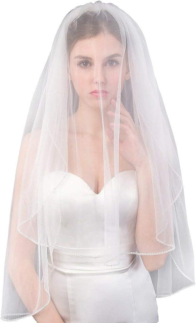 Houston Mall EllieHouse Women's Short 2 Tier Lace Veil Bridal With Popular Co Wedding