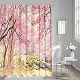 Thinyfull Cherry Forest Duschvorhang, rosa Kirschblüte, Badezimmervorhänge, Aquarellmalerei, strukturiertes Baddekor-Set mit Haken, 183 x 183 cm