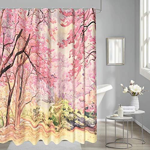 Thinyfull Cherry Forest Duschvorhang, rosa Sakurablüte, Badezimmervorhänge, Aquarellmalerei, strukturiertes Baddekor-Set, wasserdicht, waschbar, 183 x 183 cm