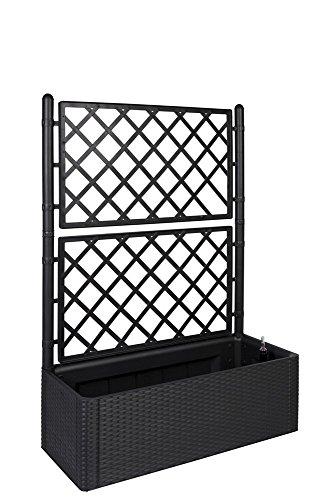 XL Rankgitter, Spalier mit Pflanzkasten in moderner Rattan-Optik aus robustem Kunststoff in Anthrazit/Grau. Maße BxTxH in cm: 100 x 43 x 142 cm. Topp für Garten, Terrasse und Balkon!