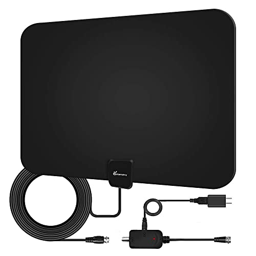Indoor Amplified Digital Antenna 50 miles Thin Flat HD TV 13FT Coax White WZ