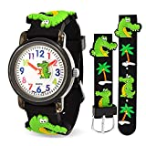 Bling Jewelry Alligator Crocodile 3D Montre-Bracelet Étanche Enseignant Temps Bracelet Silicone Noir Cartoon Quartz Coloré Ronde Dial