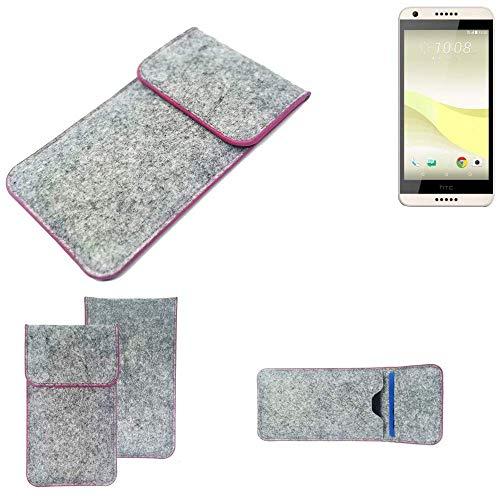 K-S-Trade Handy Schutz Hülle Für HTC Desire 650 Schutzhülle Handyhülle Filztasche Pouch Tasche Hülle Sleeve Filzhülle Hellgrau Pinker Rand