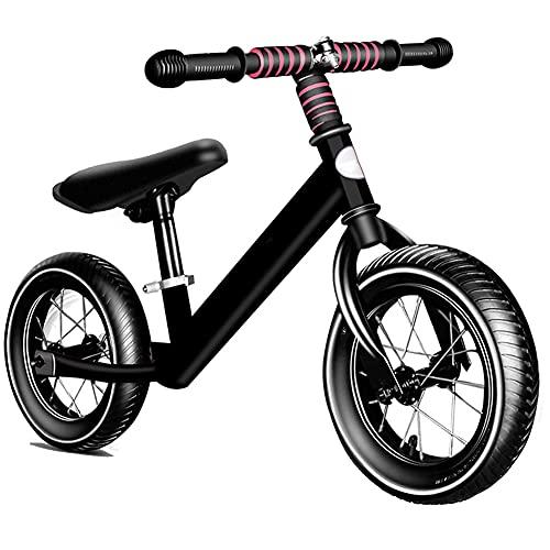 DREAMyun Bicicleta sin Pedales para niño Bicicleta sin Pedales de 2-6 años, Bici 12' Ligero, Sillín y Manubrio Regulable,Negro