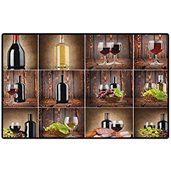 Wine Bathroom Carpet 29x17 Wine Themed Collage on Wooden Backdrop with Grapes and Meat Rustic Country Drink Indoor/Kitchen Mats and Rugs Area Rugs Rubber Mat