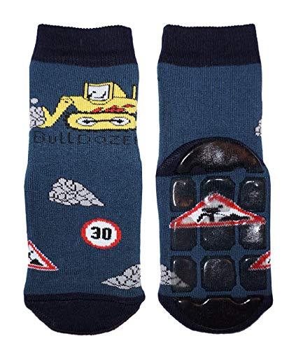 Weri Spezials Baby & Kinder Stopper Socken für Jungen Baumwolle Voll ABS Socken Antirutschsohle (23-26, Jeans Buldozer)