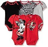 Disney Baby Girls  Girl Minnie 5 Pack Bodysuit, Red, 6-9 Months