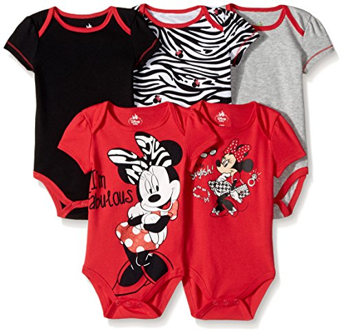 Disney Baby Girls Girl Minnie 5 Pack Bodysuit, Red, 6-9 Months
