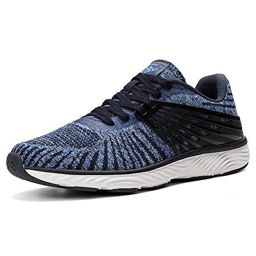 AX BOXING Zapatillas Hombres Deporte Running Sneakers Zapatos para Correr Gimnasio Deportivas Padel Transpirables Casual (44 EU, A9102-Azul)